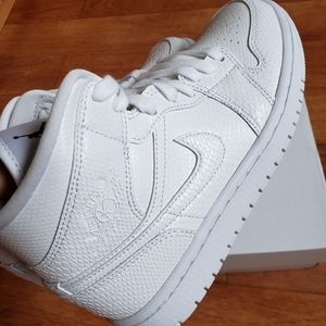 New Nike Air Jordan 1 Mid White Snakeskin Sneakers
